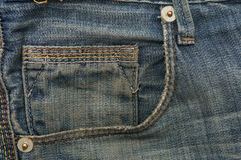 Calças de ganga com bolso dianteiro Fotografia de Stock