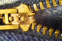 Calças de ganga, mosca do zíper do ouro, imagem macro Foto de Stock Royalty Free