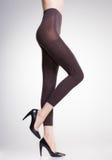 Calças justas de Brown nos pés 'sexy' da mulher no cinza fotos de stock