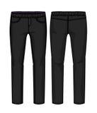 Calças pretas da sarja de Nimes Fotos de Stock