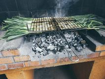 Calçots in barbecue. Typical catalan dish stock photos