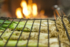 Calçots in a grill Royalty Free Stock Images