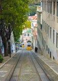Calçada da Glória with the Gloria funicular in Lisbon, Portugal Stock Photos