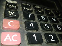 Cal c. Calculator number dost focus out focus stock images