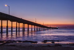 Pier at Ocean Beach in San Diego, California at Sunset Stock Image