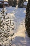 Cal-De-Beutel mit neuer Schneenote lizenzfreies stockfoto