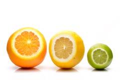 Cal, limón y naranja Foto de archivo
