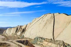Cal Orcko paleontological site,Bolivia. Dinosaurs fossils footprints Royalty Free Stock Photo