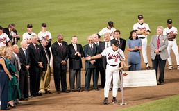 Cal Ripken Jr addresses the crowd after breaking Lou Gehrig`s Ironman Streak. On September 6, 1995. Image taken from color negative stock photo