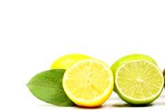 Cal y limón en el fondo blanco Imagen de archivo libre de regalías