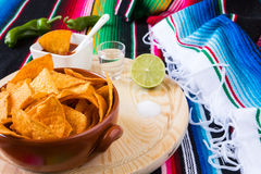 Cal y sal del tequila de los microprocesadores de los Nachos Foto de archivo libre de regalías