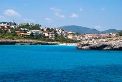 Cala Anguila villa's en het strand, Majorca Royalty-vrije Stock Foto