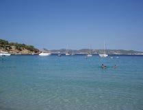 Cala Bassa Strand, Ibiza stock foto's