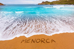 Cala Binimela in Menorca at Balearic islands Stock Photos