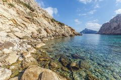 Cala Boquer. Crystal clear water and amazing rock formations at Cala Boquer in the north of Mallorca stock photography