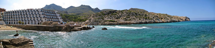 Cala Clara / Barques panorama view with hotel, Majorca Royalty Free Stock Photography