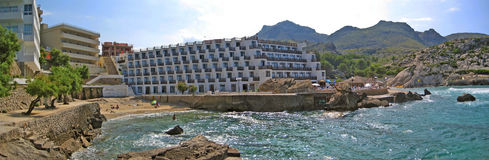 Cala Clara / Barques panorama view with hotel, Majorca Royalty Free Stock Photo