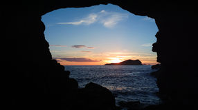 Cala Compte Ibiza solnedgångsalighet Royaltyfria Foton