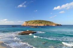 Cala Comte Beach in Ibiza Stock Photo