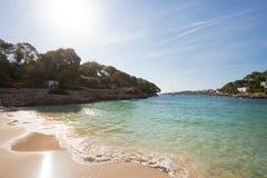 Cala D ` eller, Mallorca - solnedgång på den härliga stranden av den Cala D `-nollan Fotografering för Bildbyråer