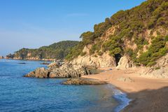 Cala de Boadella platja. Beach in Lloret de Mar, Costa Brava, Spain. Nudist spanish beach. Wonderful wild beach mediterranean sea. Cala de Boadella platja. Beach royalty free stock images