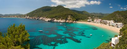 Cala de Sant Vicent. Panorama of Cala de Sant Vicent on the North East of Ibiza, Spain Royalty Free Stock Images