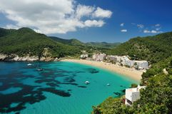 Cala de Sant Vicent, Ibiza Espagne Photo stock