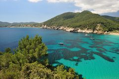 Cala de Sant Vicent, Ibiza Spanien Lizenzfreies Stockbild
