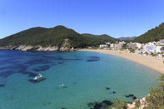 Cala de Sant Vicent, Ibiza Spanien Royaltyfri Bild
