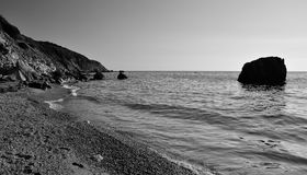 Cala del Gesso beach bw, Giglio Island, Italy Royalty Free Stock Photo