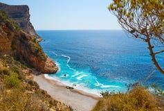 Cala del Moraig beach Benitachell Alicante. Cala del Moraig beach in Benitachell of Alicante at Spain royalty free stock photography