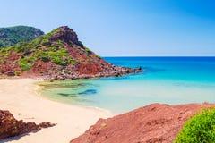 Cala del Pilar beach scenery. In sunny day at Menorca, Spain Stock Photos