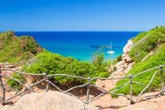 Cala del Pilar view. From the Cami de Cavalls path at Menorca, Spain Royalty Free Stock Image