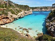Cala des Moro beach at Majorca. Cala des Moro beach bay azure sea water, at Majorca in Spain royalty free stock images