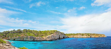 Cala des Moro panorama, Majorca - bay with beach Royalty Free Stock Images