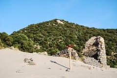 Cala Domestica在撒丁岛,意大利的Sulcis地区 库存图片
