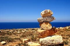Cala Domestica海滩,撒丁岛,意大利视图  免版税库存照片