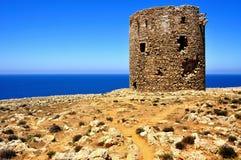 Cala Domestica海滩,撒丁岛,意大利古老城楼  图库摄影