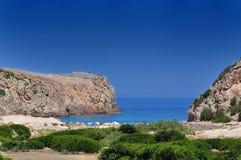 Cala Domestica海滩,撒丁岛,意大利视图  库存照片