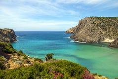 Cala Domestica (撒丁岛) 峭壁、花、美丽的绿色和蓝色海和多云天空 库存图片