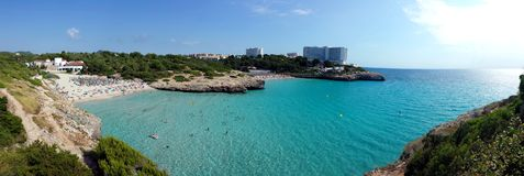 Cala Domingos Beach, Calas de Mallorca Majorca, Spain. Panoramic photo Royalty Free Stock Images