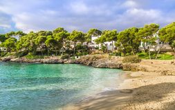 Cala Dor strand in Cala D 'of stad, Palma Mallorca Island, Spanje stock afbeeldingen