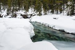 Cala en parte congelada en invierno imagenes de archivo