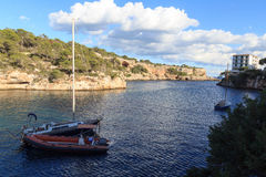 Cala Figuera ψαροχώρι πανόραμα κόλπων και Μεσόγειος, Majorca Στοκ φωτογραφίες με δικαίωμα ελεύθερης χρήσης