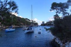 Cala Figuera ψαροχώρι πανόραμα κόλπων και Μεσόγειος, Majorca Στοκ φωτογραφία με δικαίωμα ελεύθερης χρήσης