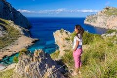 Cala figuera au formentor de chapeau - belles c?te et plage de Majorque, Espagne image stock