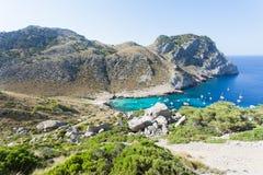 Cala Figuera de Formentor, Mallorca - Hiking through the rocky l. Cala Figuera de Formentor, Mallorca, Spain - Hiking through the rocky landscape of Formentor Royalty Free Stock Photos
