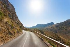 Cala Figuera de Formentor, Mallorca - Illuminated road across th. Cala Figuera de Formentor, Mallorca, Spain - Illuminated road across the mountains of Formentor Stock Image