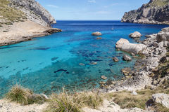 Cala Figuera in Mallorca. Crystal clear water of Cala Figuera at the Formentor peninsula in the north of Mallorca Stock Images