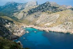 Cala Figuera on Mallorca island. Tramuntana mountains in the back Royalty Free Stock Photo